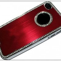 BONAMART ® Luxury Bling Czech Rhinestone Case Cover for Apple Iphone 4 4g 4s At&t and Verizon Silver&red