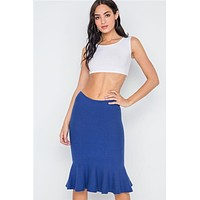 Ribbed Knit Mermaid Midi Skirt