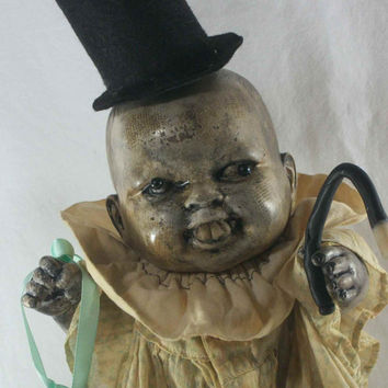 Creepy Prop Dolls Ennery the Crummy Magician OOAK Altered Art Dead Doll Freak Haunted Bizzare Scary Odd Weird Macabre Gothic By L.Cerrito