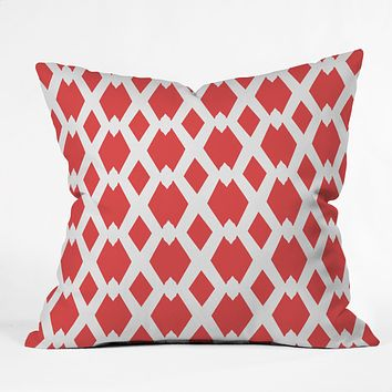 Lisa Argyropoulos Daffy Lattice Coral Outdoor Throw Pillow