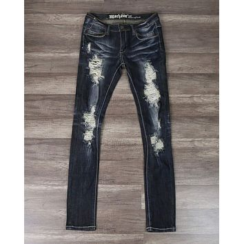 Distressed Skinny Jeans in Dark Denim