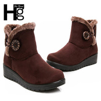 Winter New Button Snow Boot Big Size Warm Winter Ankle Boot  Slip Resistant  Winter Shoes XWX1597