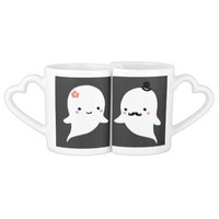 Together Forever Personalized Cute Ghost Couples' Coffee Mug Set