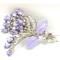 Purple Lavender Rhinestone Brooch Purple Enamel Roses Metal Brooch Vintage Costume Jewelry Fashion Estate Jewelry Shawl Scarf Sweater Pin