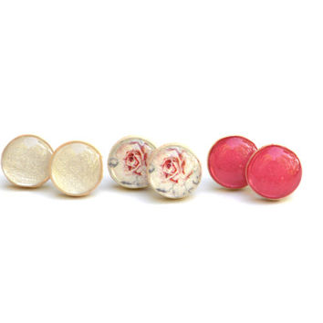 Pink Summer studs earring set post earrings eco friendly floral jewelry wood jewelry etsy wood earrings pink studs eco fashion