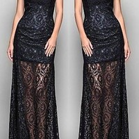 Black One Shoulder Lace Maxi Dress