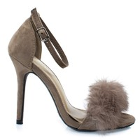 Rubina53 Taupe By Forever, Fluffy Feather Furry Strap High Heel Open Toe Sandal