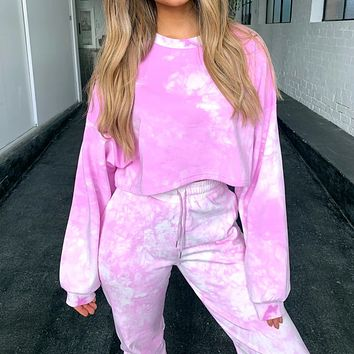 2020 hot new short sweater fashion sports tie-dye two-piece suit jumpsuit pink