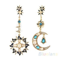New Style Fashion Star Sun Moon Rhinestone Crystal Stud Dangle Pretty Earrings = 1946904068