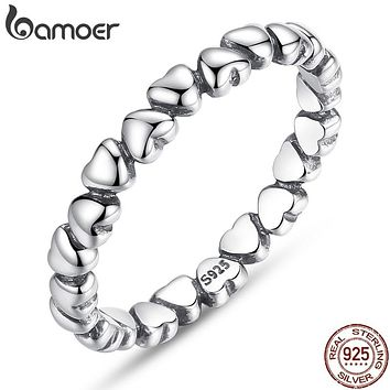 925 Sterling Silver Forever Love Heart Finger Ring Original Jewelry Gift