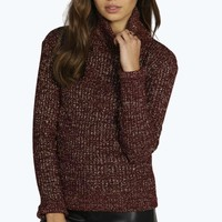 Megan Metallic Knit Turtle Neck Jumper