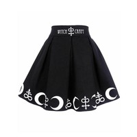 2018 Witch Moon Printed Harajuku Punk Rock Gothic Summer Women Skirt High Waist Witch Craft Moon Star Print Goth Pleated Skirts