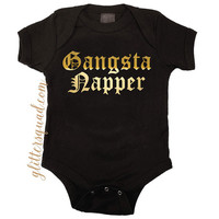 Gangsta Napper / Gangster Napper / Black Sparkle Creeper Onesuit  Infant & Toddler Onsie for Boy or Girl