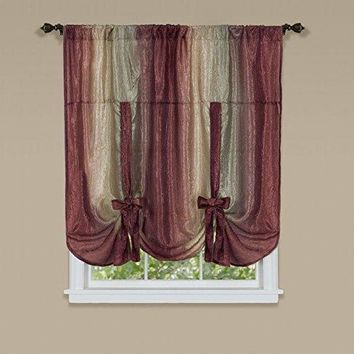 Ben&Jonah Collection Ombre Window Curtain Tie Up Shade 50x63 - Burgundy