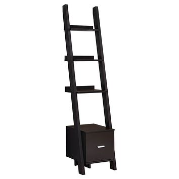 """Modern Bookshelf - 69"""" Particle Board Ladder Bookcase with a Storage Drawer"""
