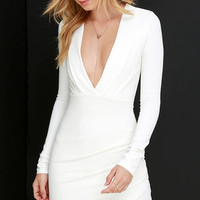 Got a Ruche On You Ivory Bodycon Dress