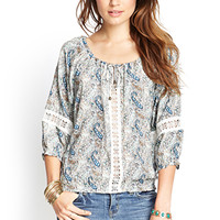 LOVE 21 Paisley & Crochet Peasant Top Ivory/Mint