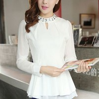 New style sweet fashion joker set drill high collar chiffon Tops