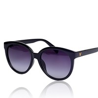 Plastic Frame Butterfly Shape Synthetic Resin Lens Sunglasses 052210 S0606 Color Black