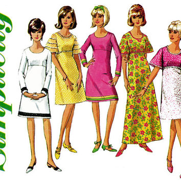 1960s Dress Pattern Bust 32 36 Simplicity 6457 Evening A Line Maxi Dress Bell Sleeve Empire Waist Scoop Neck Womens Vintage Sewing Patterns