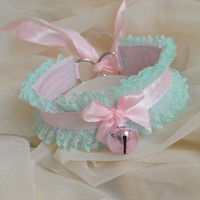 Mint candy - fairy kei pastel kawaii cute lolita kitten pet play ddlg - green and pink lace collar with bell