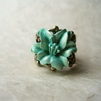 Mint Flower Ring. Handmade Polymer Clay Lily atop Antique Brass Adjustable Filigree Ring. Vintage Inspired. Sparkling Seafoam.
