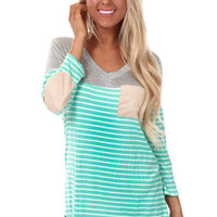 Grey and Mint Stripe Print Suede Detail Top