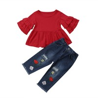 Autumn New Kid Baby Girls 2pcs Clothing Set Red Long Sleeves T shirts Tunic+Floral Denim Pants Jeans Outfits 2018 Child Clothes