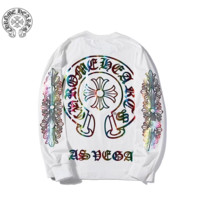 Chrome Hearts New fashion reflective multicolor pattern couple long sleeve top sweater White
