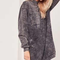 Missguided - Black Pocket High Neck Sweater Dress