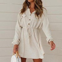 Beige Long Sleeve Mini Dress Women Cotton Linen Beach Cover Up Drawstring Waist Casual Solid Shirt Dress With Pockets