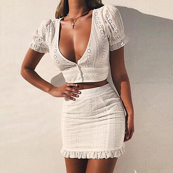 EFINNY White Two Pieces Set Women Solid Tight Crop Top Sexy Package Hip Skirt Women Clothing