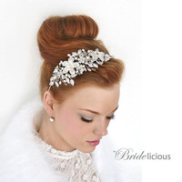 My Devine Josephine bridal headband - Shimmering tiara with flowers, crystals and pearls
