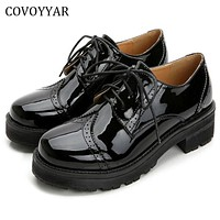 2017 Retro Oxfords Brogue Women Shoes Fashion Patent Leather Platform Casual Shoes Round Toe Flats Lace Up Plus Size 40 WFS521