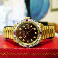Rolex 18k Solid Yellow Gold Presidential Diamond Bezel Dial 26mm Ladies Watch