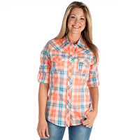 Women's Cruel Girl Coral and Turquoise Plaid Buttondown Shirt