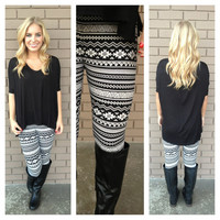 Black & White Aztec & Geo Print Leggings