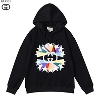 GG mens and womens color double G print round neck pullover hooded sweater-1