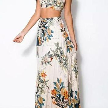 Floral Print Crop Top and Long Skirt Set