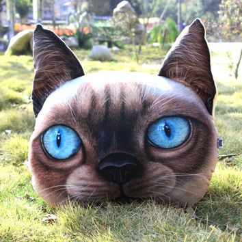 Realistic Siamese Kitty Cat Face Shaped Animal Themed Large Cushion Pillow