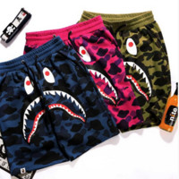 BAPE SHARK Men's Fashion Camouflage  Casual Shorts Pants