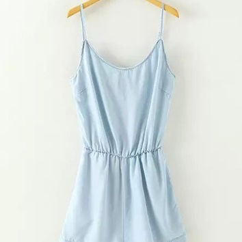 Light Blue Spaghetti Strap Chambray Romper