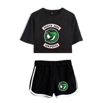 Drop Shipping Women Riverdale South Side Two Piece Set Tracksuit Women New Print Crop Top and Pants for Women 2018 Summer Set