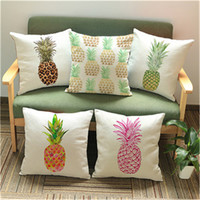 Woven Linen Summer Style Cushion Cover Sofa Car Office Home Decorative Pillows Case Pineapple Pattern Printing