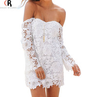 Women White Long Sleeve Off the Shoulder Split Cut out Back Floral Lace Crochet Mini Bodycon Sexy Party Dress 2015 Fashion