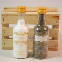 Salt & Pepper Shaker from Upcycled Kinky Gold Mini Liquor Bottles