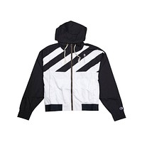 Champion Women's Diagonal Stripe Hooded Rain Jacket Black White