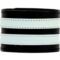 """Double White on Black Strip Leather Wristband Bracelet Cuff 1-3/4"""" Wide"""