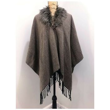 Charlie Paige Faux Fur Brown Cape with Fringe One Size