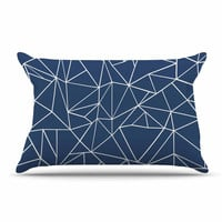 """Project M """"Abstraction Outline Navy"""" Blue Abstract Pillow Sham"""